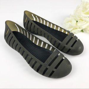 Crocs Dark Olive Green Slip On Flats Size 10